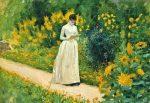 Albert Aublet, Reading on the garden path, 1883