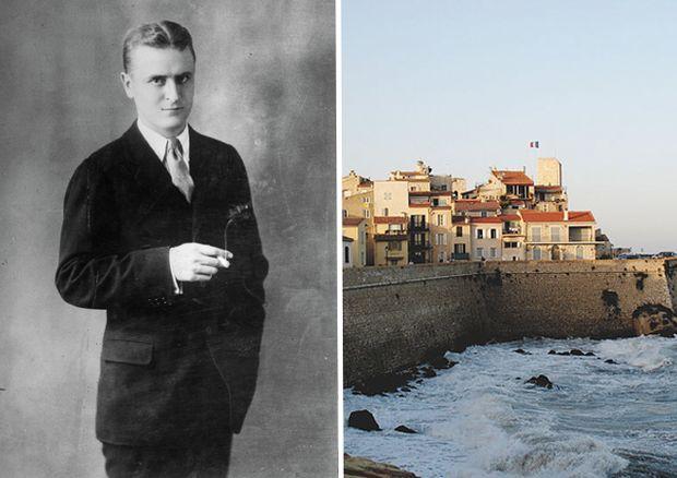 """Франсис Скот Фицджералд - Кап д'Антиб • Френската Ривиера снимка: Още преди да навърши 23, Фицджералд е богат и известен. Напук на целия този успех, той бяга във Франция и летува на Френската Ривиера, където може да живее на практика от нищо поне около година . Неговата вила в Кап д'Антиб имала тераса с басейн, частен плаж, градини, изглед към Средиземно море и дори свой собствен нощен клуб. Там той е написва не само """"Великият Гетсби"""", но среща и жената, която го вдъхновява да напише """"Нежна е нощта"""" (говори се, че дори и корицата на книгата е вдъхновена от гледката от терасата му)."""