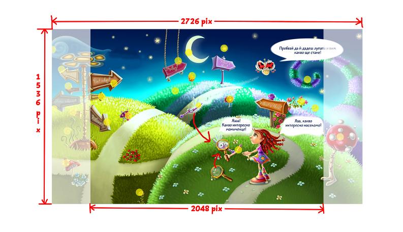 Кои са оптималните параметри за изображенията, когато създавате мобилна приказка-игра